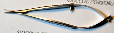 Micro dissecting spring scissors with 0.15x7.5mm straight blades